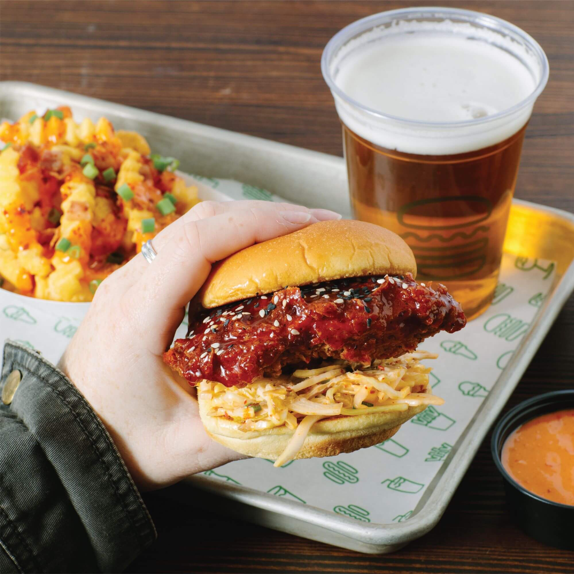 Gochujang burger, with fries and Shackmeister beer